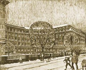 Der vorweihnachtliche Ehrenhof des heutigen Landesamtes für Steuern am Nordende der Hastverstraße, 1925.