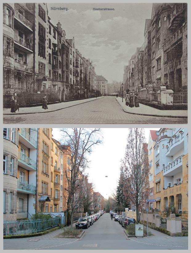 Blick in die Hastverstraße nach Süden zur Pirckheimerstraße, zwischen 1910 und 1916 und 2016