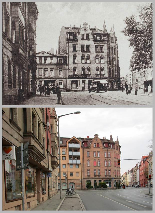 Die Kreuzung Kirchenweg, Johannis- und Brückenstraße, zwischen 1906 und 1945 und 2016.