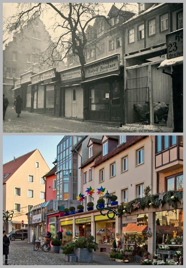 Die Häuser Trödelmarkt 3 bis 23, aufgenommen zwischen 1912 und 1945 und 2016