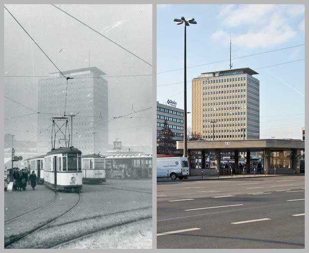 Das Plärrerhochhaus, vom Plärrer aus gesehen, 1956 und 2016.