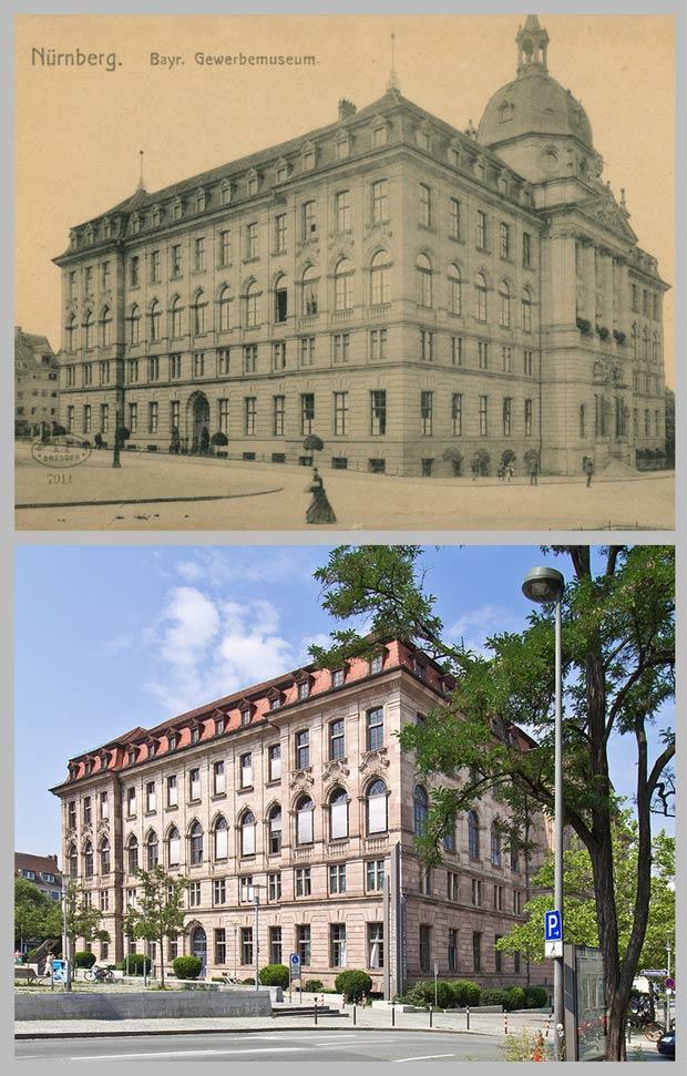 Das Gewerbemuseum vom Marientorgraben aus gesehen, aufgenommen zwischen 1905 und 1920 und 2016.