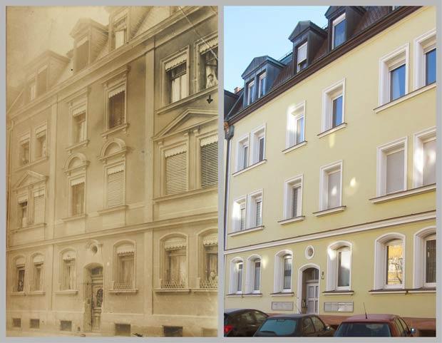 Das Mietshaus Siemensstraße 10, aufgenommen zwischen 1905 und 1920 und 2016.