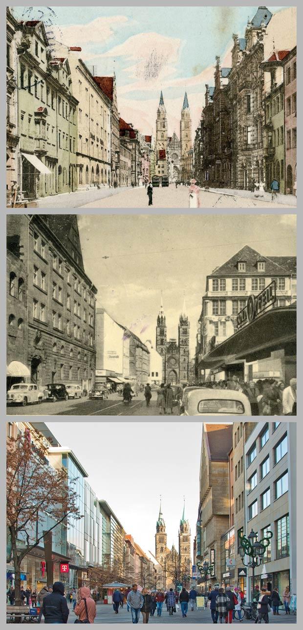 Blick durch die Karolinenstraße zur Lorenzkirche, 1890, 1952 und 2016.
