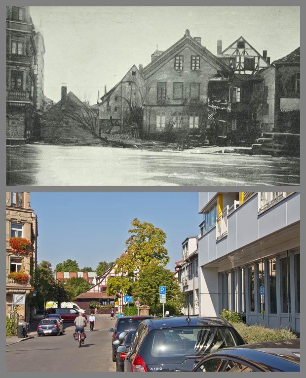 Blick von der Praterstraße gegen Westen auf die Kleinweidenmühle, 1909 und 2016.