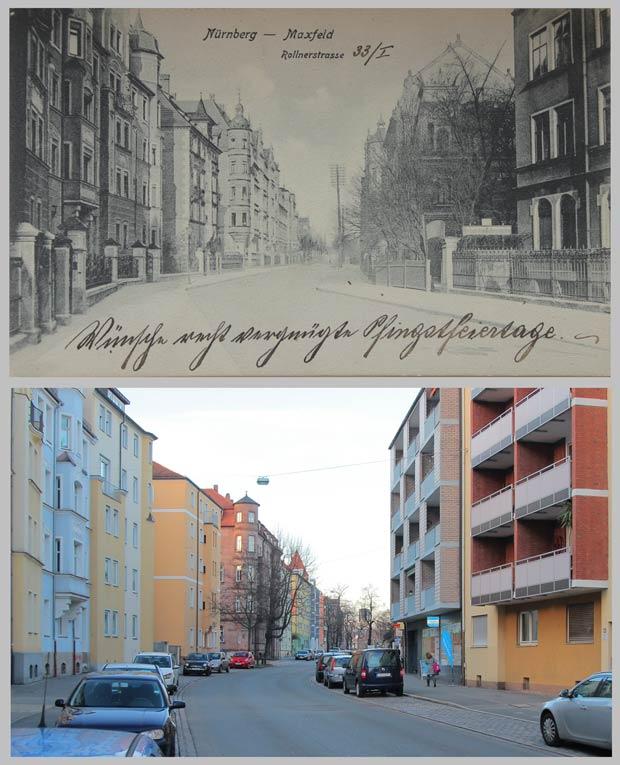 Die Rollnerstraße, von Haus Nr. 37 aus gegen Norden gesehen, 1905 und 2016.