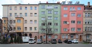 Die Häuserreihe Wodanstraße 15 bis 21, 2014.