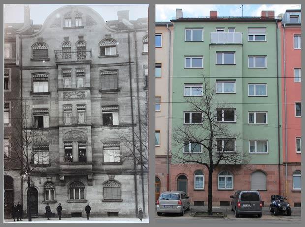 Die Straßenfassade des Hauses Wodanstraße 17, aufgenommen 1908 und 2015.