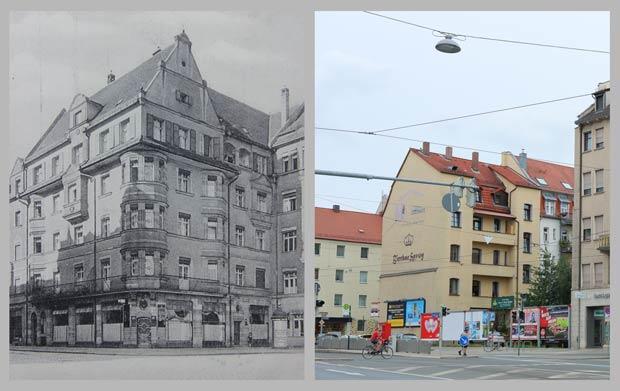 Die Südwestflanke des Celtisplatzes, aufgenommen 1920 und 2016.