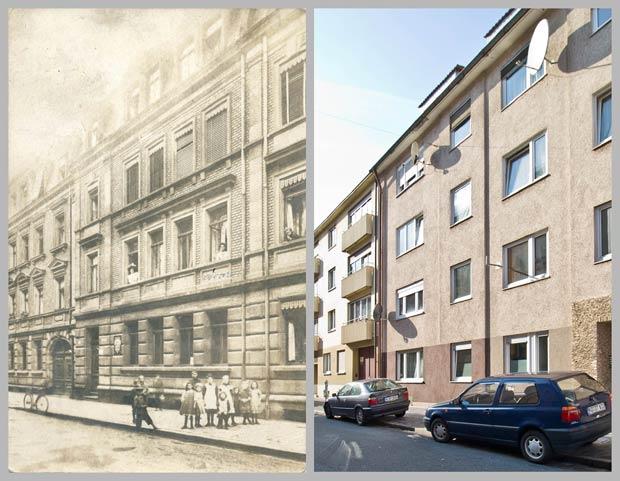 Die Häuser Zickstraße 4 und 2a, von links nach rechts, aufgenommen 1911 und 2016.