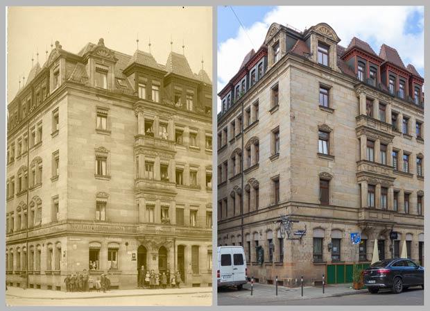 Das Eckhaus Paumgartnerstraße 22, aufgenommen 1907 und 2016.