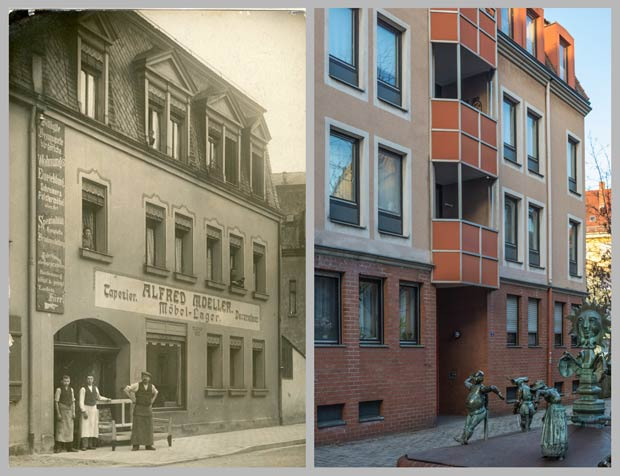 Das Haus Schützenstraße 7, aufgenommen zwischen 1905 und 1908 und 2017.