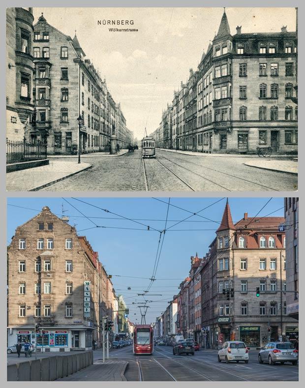 Die Wölckernstraße, von der Kreuzung Pillenreuther Straße gegen Osten gesehen, aufgenommen 1908 und 2017.