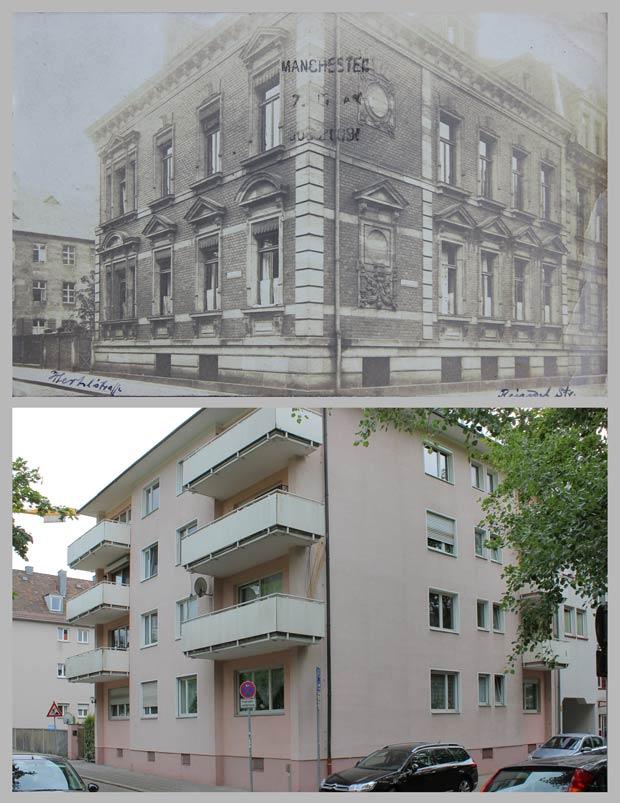 Das Eckhaus Reindelstraße 10, aufgenommen 1910 und 2016.