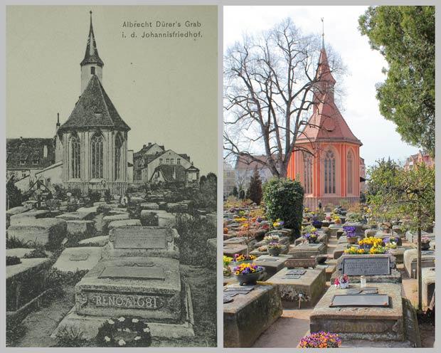 Seit über einem Jahrhundert kaum verändert – Albrecht Dürers Grabmal und die Johanniskirche, aufgenommen 1905 und 2016.