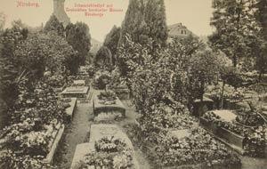 Ein anderer Blick über Dürers Grab und seine Nachbarn, aufgenommen zwischen 1905 und 1945.