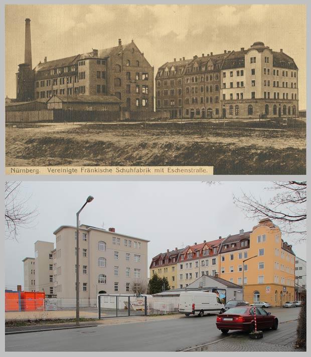 Die Kreuzung Eschen- und Ulmenstraße, aufgenommen 1920 und 2016.