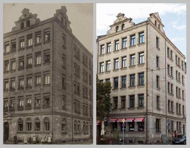 Das Eckhaus Fichtestraße 23, aufgenommen 1912 und 2017.