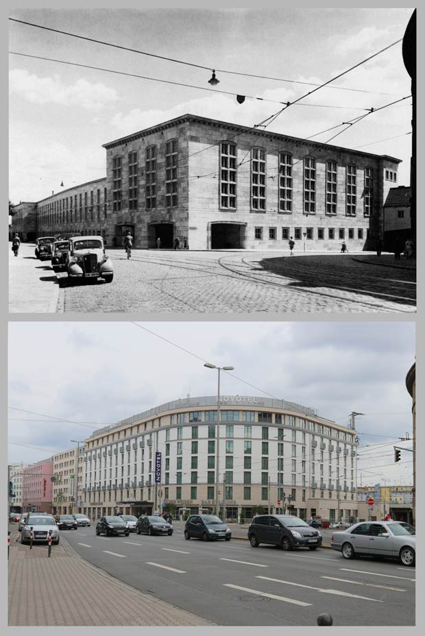 Das neue Paketpostamt am Allersberger Tunnel 1939 und das 2013 an seiner Stelle errichtete Novotel Centre Ville.