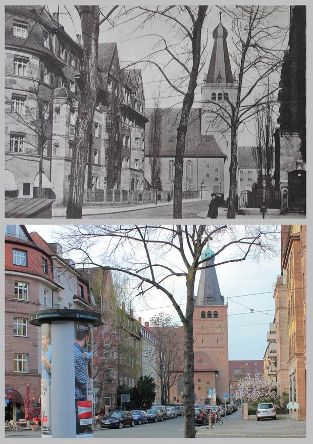 Ausblick von der Johannisstraße zum Palmplatz, aufgenommen zwischen 1928 und 1932 und 2016.