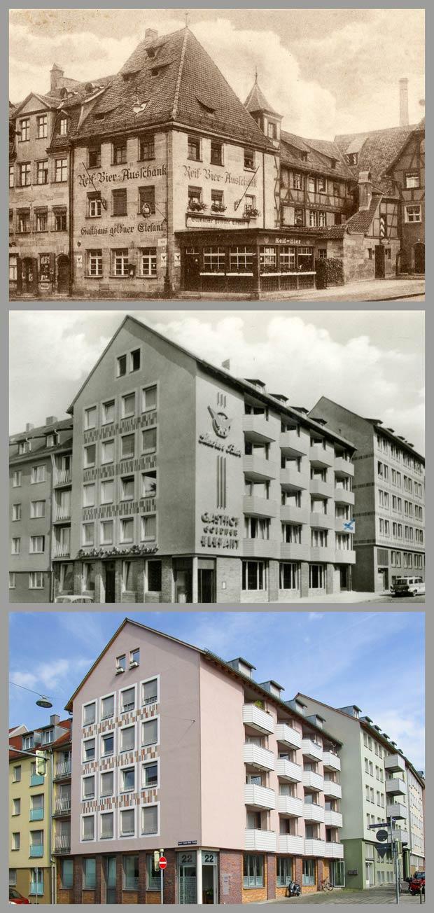 """Dreimal """"Goldner Elefant"""", aufgenommen zwischen 1928 und 1945, zwischen 1957 und 1970 und 2017."""