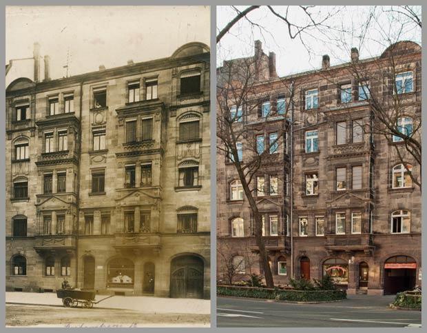 Das Haus Stephanstraße 12, aufgenommen zwischen 1908 und 1914 und 2017.