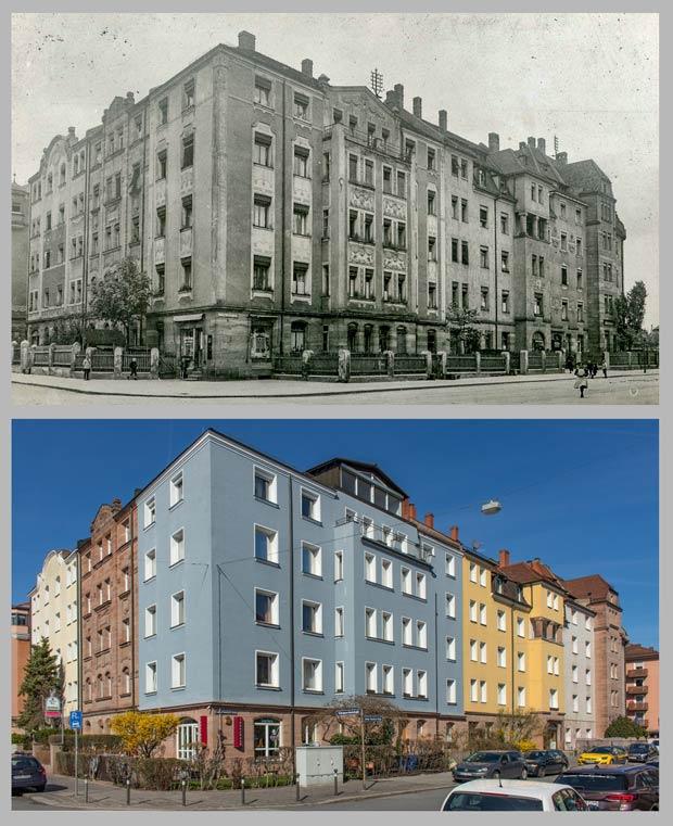 Die Kreuzung Schoppershof- und Ludwig-Feuerbach-Straße, aufgenommen zwischen 1906 und 1930 und 2017.