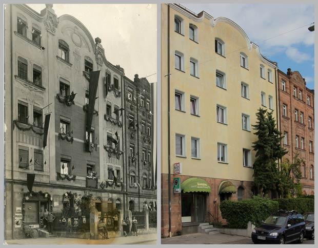 Blick um die Ecke: Die Häuser Schoppershofstraße 16 und 18 – aufgenommen 1933 und 2017 – zeigen, wie unterschiedlich mit dem prächtigen Fassadenschmuck verfahren wurde.