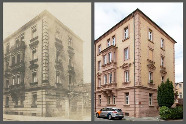 Das Haus Lindenaststraße 58, aufgenommen zwischen 1905 und 1909 und 2016.