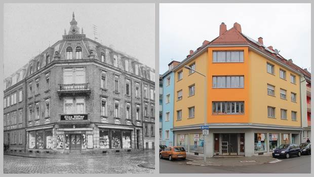 Das Eckhaus Werderstraße 1, aufgenommen 1930 und 2016.