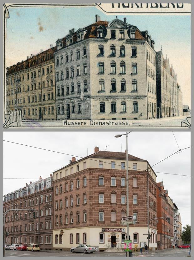 Vertrauter Ausblick von der Straba – das Eckhaus Dianastraße 43, aufgenommen zwischen 1905 und 1917 und 2017.