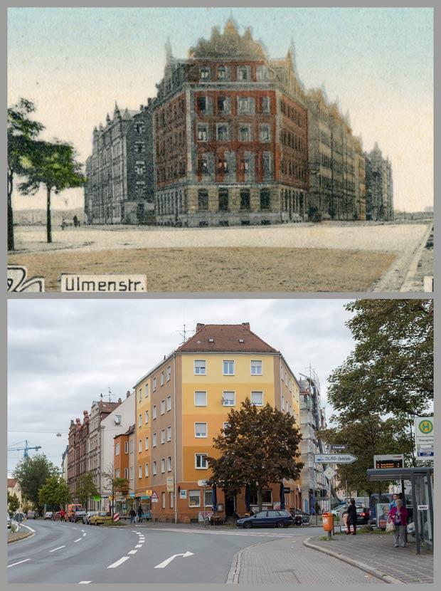 Das Stirnhaus Erlenstraße 1, aufgenommen zwischen 1905 und 1917 und 2017.