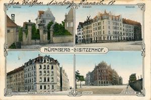 Vier Ansichten rund um den Dianaplatz, aufgenommen zwischen 1905 und 1917.