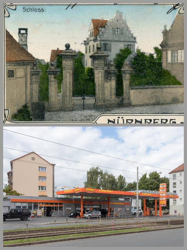 Einst Herrensitz, heute Tanke – das Anwesen Gibitzenhofstraße 172, aufgenommen zwischen 1905 und 1917 und 2017.