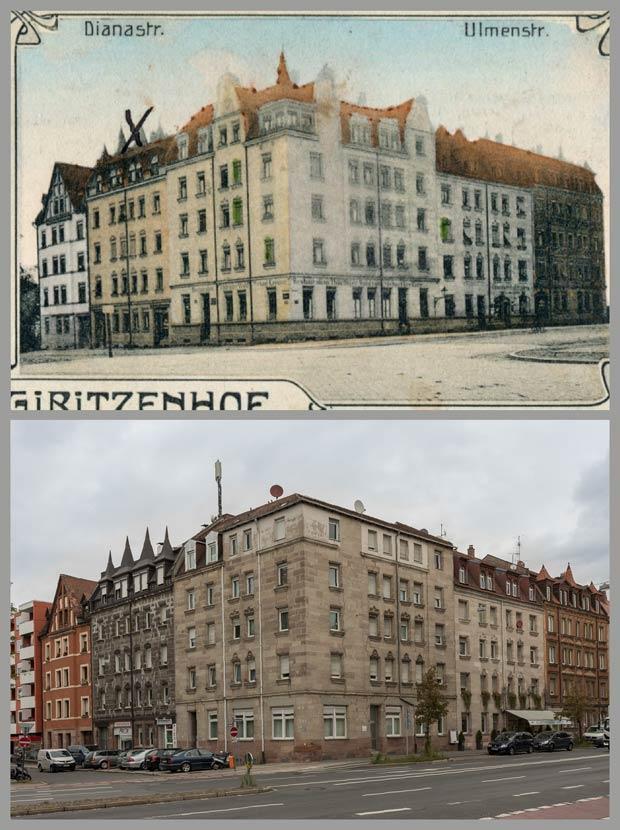 Das Eckhaus Ulmenstraße 1 und seine Nachbarn, aufgenommen zwischen 1905 und 1917 und 2017.