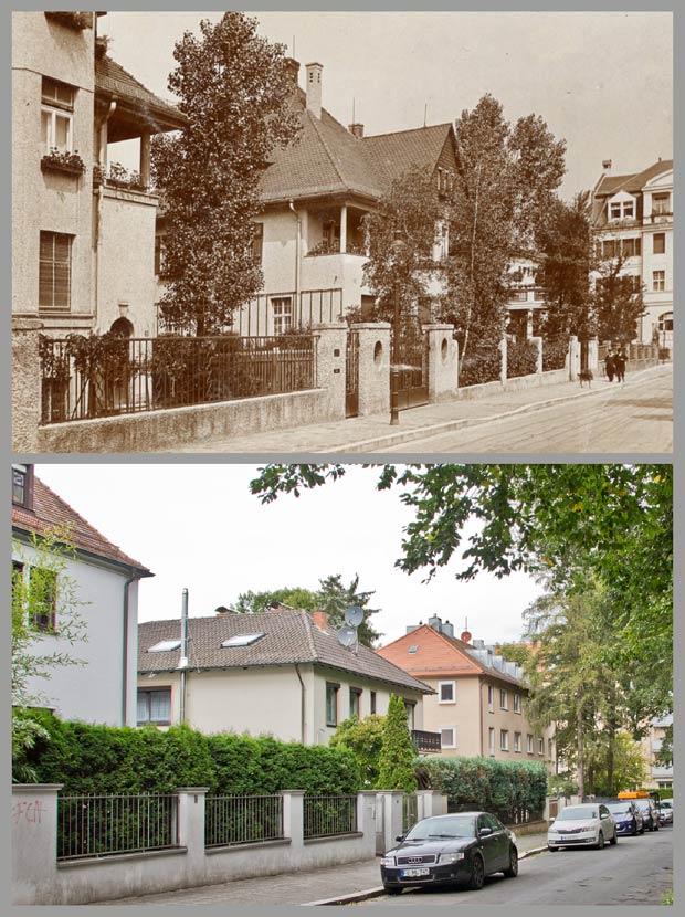 Die Häuser Tiergartenstraße, heute Parstifalstraße, Nummer 40, 38, 36 und 26, aufgenommen zwischen 1912 und 1914 und 2017.