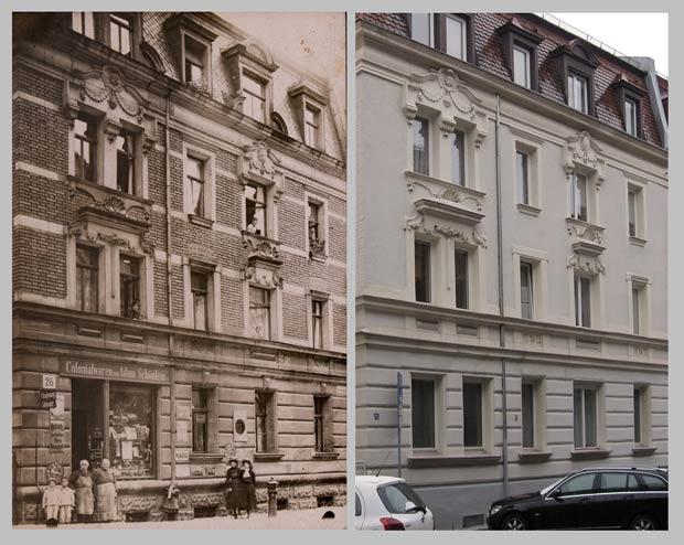 Das Haus Adamstraße 26, aufgenommen zwischen 1905 und 1922und 2014.