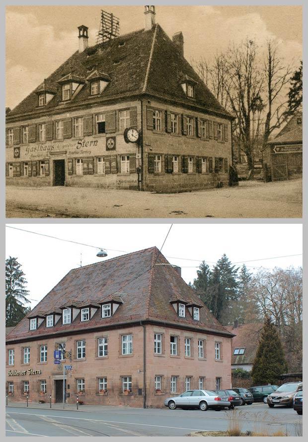 """Das Gasthaus zum """"Goldenen Stern"""", aufgenommen zwischen 1925 und 1933 und 2016."""