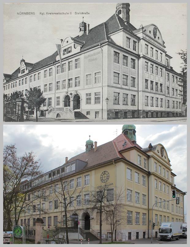 Das Dürer-Gymnasium, von der Reutersbrunnenstraße aus gesehen, aufgenommen zwischen 1912 und 1917 und 2016.