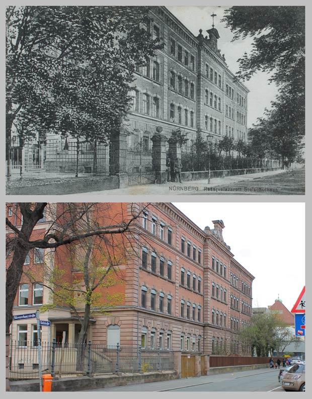 Die Sielschule, von der Bärenschanzstraße aus gesehen, aufgenommen zwischen 1905 und 1945 und 2016.