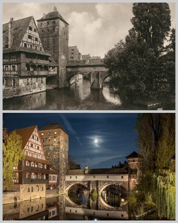 Weinstadel, Wasserturm und Henkerhaus, aufgenommen um 1925 und 2016.