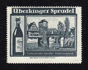 Sprudel, Weinstadel, Wasserturm und Henkerhaus auf einer Reklamemarke der Firma Überkinger, gedruckt zwischen 1903 und 1914.