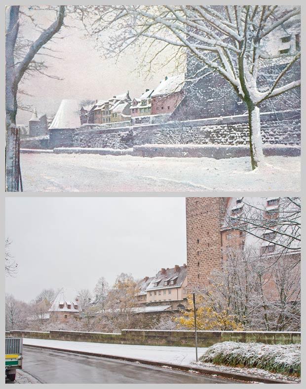 Vestnertorgraben und -mauer, aufgenommen zwischen 1905 und 1927 und 2017.