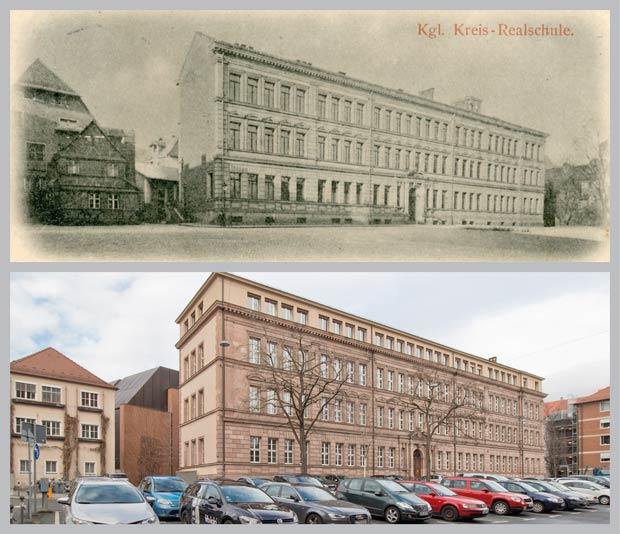 Das platzprägende Gebäude Bauhof 5, aufgenommen zwischen 1885 und 1898 und 2017.