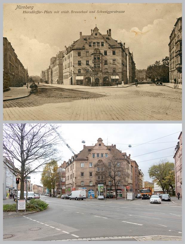 Das Gebäude Schweiggerstraße 31, aufgenommen zwischen 1907 und 1911 und 2017.