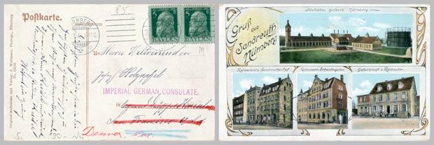 Unsere historische Ansichtskarte reiste 1912 bis in die USA – und das für gerade einmal zehn Pfennige.