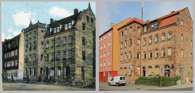 Das Eckhaus Sandreuthstraße 36, aufgenommen zwischen 1906 und 1912 und 2016.