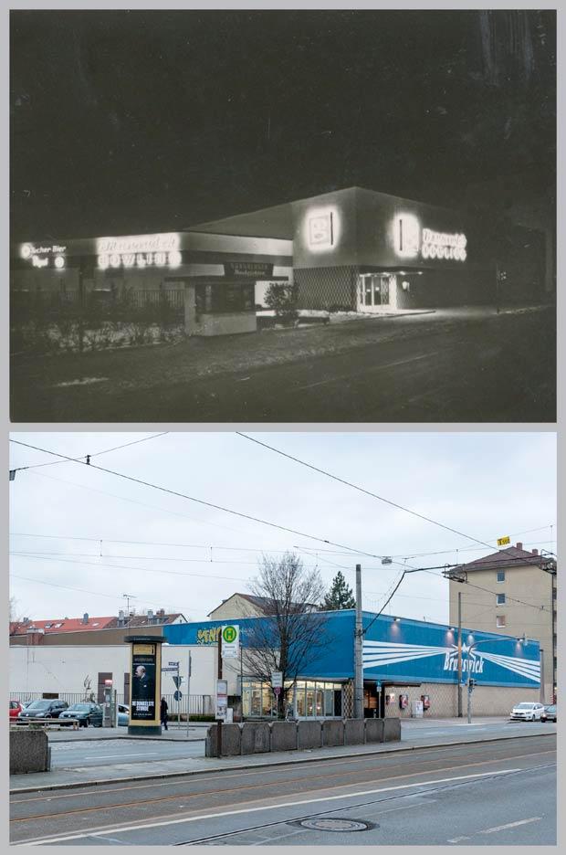 Das Brunswick-Bowling-Center in der Bayreuther Straße 18-20, aufgenommen 1963 und 2018.