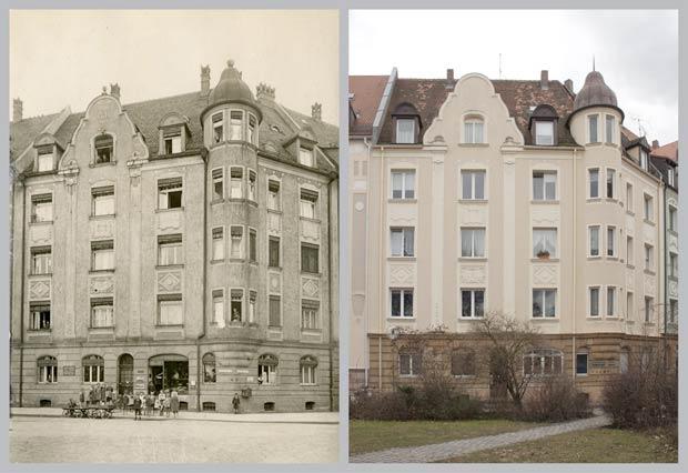 Das Haus Kobergerplatz 4, aufgenommen 1920 und 2018.