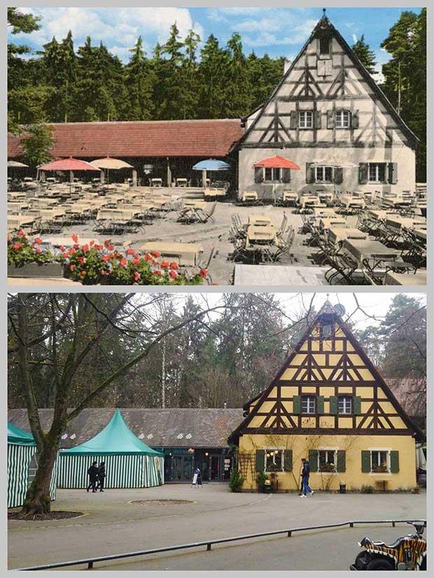 Die Waldschänke, aufgenommen 1939 und 2016.
